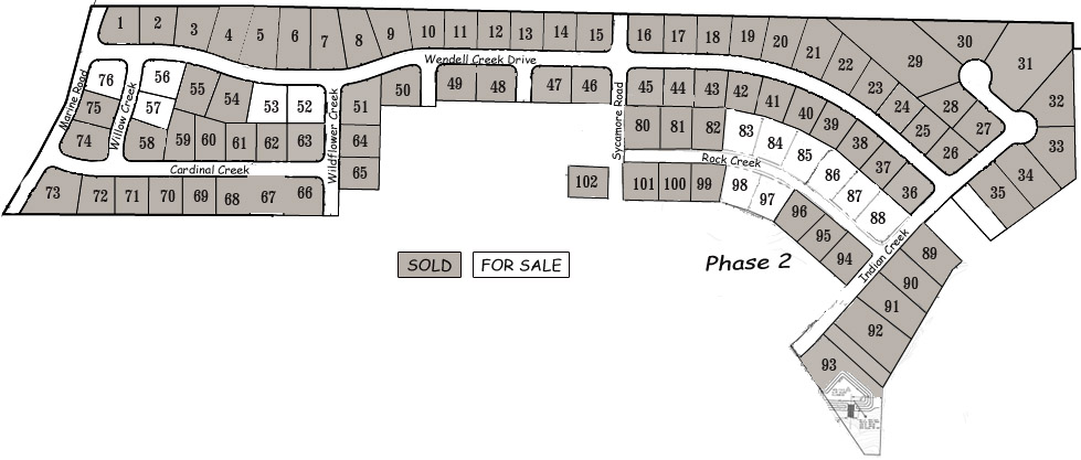Lot Layout & Prices for Wendell Creek Estates in the St. Jacob, Illinois & Troy, IL TRIAD Community School District.